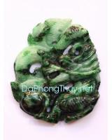 Rồng đoạt châu cẩm thạch xanh lý CT1