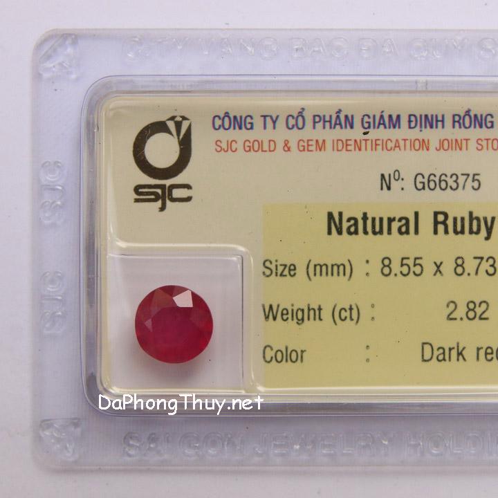 Viên đá ruby kiểm định tự nhiên RBG2.82