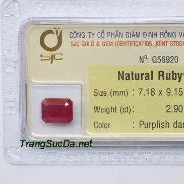 Viên đá ruby kiểm định tự nhiên RBG2.90