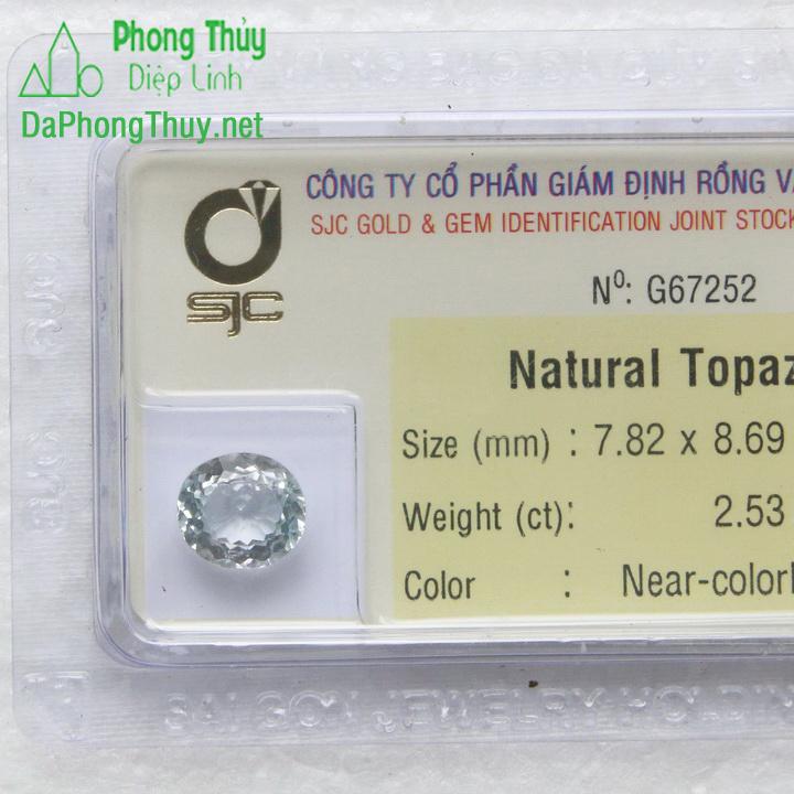 Viên đá phong thuỷ topaz trắng pazt2.53