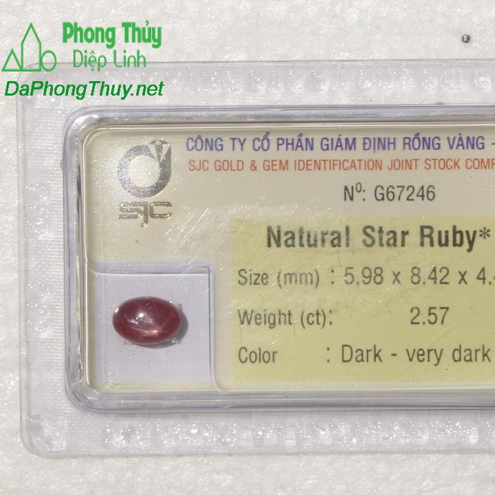 Viên đá ruby sao kiểm định tự nhiên RBS2.57