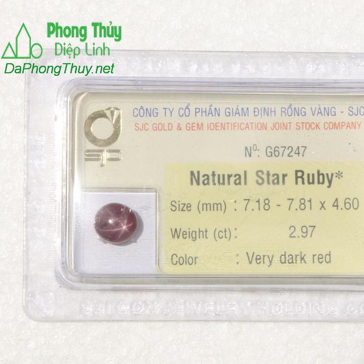 Viên đá ruby sao kiểm định tự nhiên RBS2.97