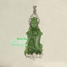 Phật Quan Âm đá ngọc bích NBQA1