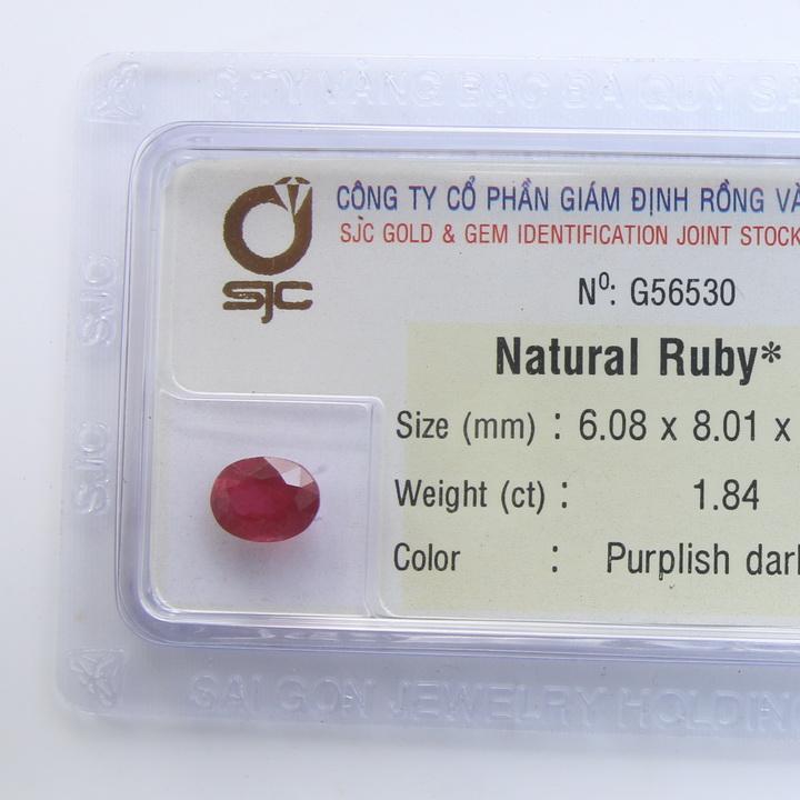 Viên đá quý phong thủy tự nhiên Ruby RBG1.84