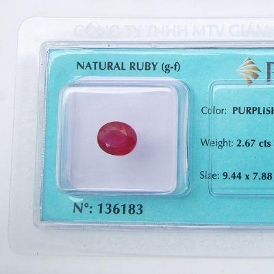 Viên đá quý phong thủy tự nhiên Ruby RBG2.67