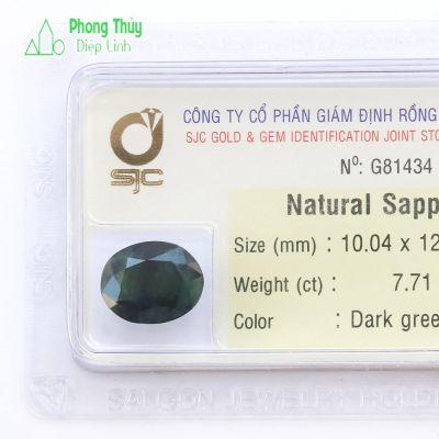 Viên đá sapphire xanh lá thiên nhiên SPKD7.71-G81434